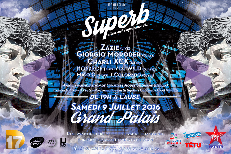 Affiche Superb - Grand Palais - 9 juillet JustMusic.fr