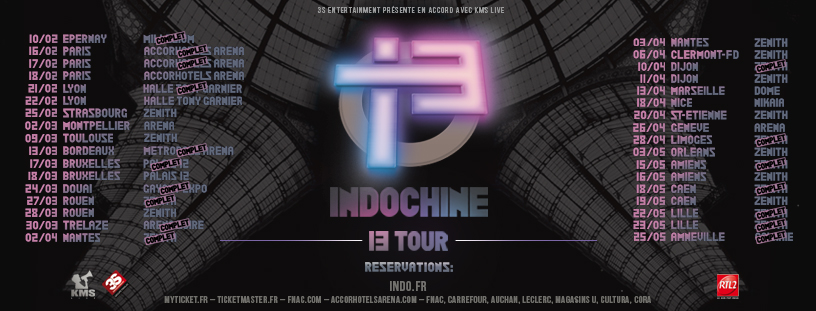 Indochine - 13 Tour (Visuel Tournée) JustMusic.fr